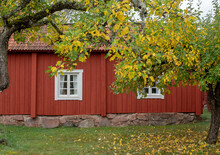 Farm Houses In The Countryside In Sweden At Autumn