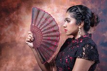 South East Asian Indian Race Ethnic Origin Woman Wearing Chinese Dress Costume Cheongsam Holding Hand Fan Multiracial Community On Retro Vintage Background