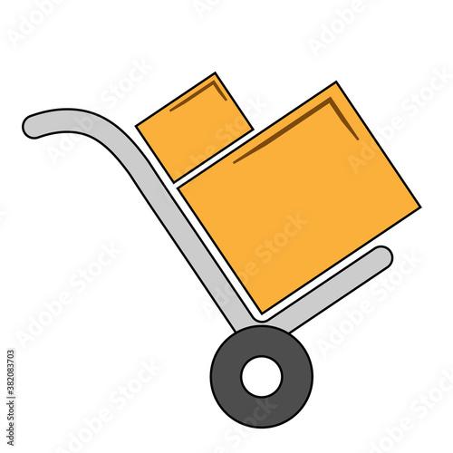 Fototapeta Simple illustration handcart icon for web Concept of work tools