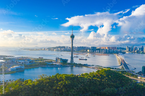Aerial photographs of the coastal scenery of the Macao Special Administrative Region of China