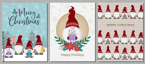 Foto Set of Christmas cards with cute Scandinavian gnomes