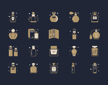 Perfume Bottles Silhouette Icons. Vector Illustration Included Icon As Glass Sprayer, Luxury Parfum Sampler, Essential Oil, Cologne Gold Glyph Pictogram For Cosmetic Store