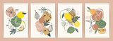Collection of contemporary art prints. Abstract fruits. Apples, pears, apricots and lemons.