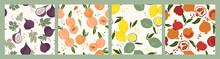 Set Of Vector Seamless Patterns With Fruits. Trendy Hand Drawn Textures. Modern Abstract Design