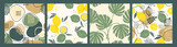 Abstract collection of seamless patterns with lemons, leaves and geometric shapes. Modern design