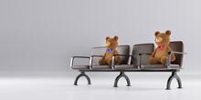 ベンチに置かれた熊の...