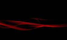 Elegance Of Red Fractal Waves Isolated On Black Backgraund