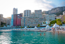 Monaco-Montecarlo, Wonderful City Of The Cote-d'Azur With Its Marine And Architectures, Larvotto Beach,  In A Sunny Day With Blue Sky