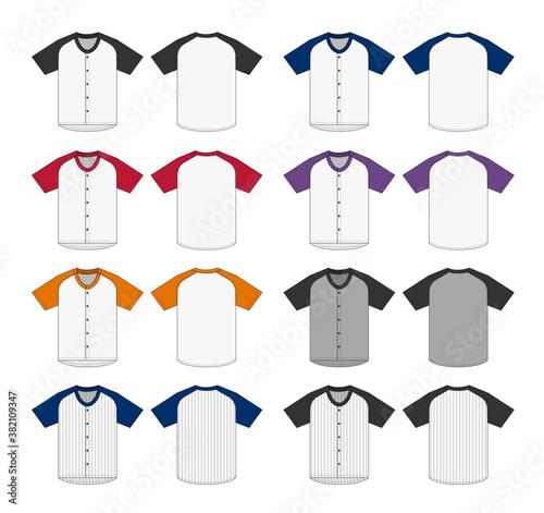 Jersey shortsleeve shirt (baseball uniform shirt) template vector illustration s Fotobehang