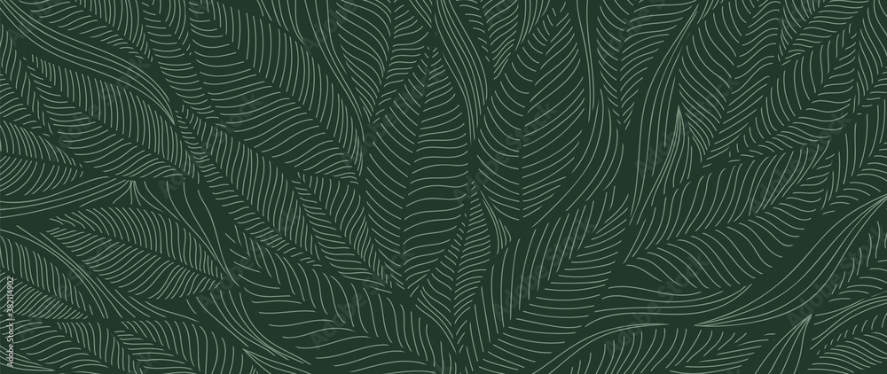 Fototapeta Tropical leaf Wallpaper, Luxury nature leaves pattern design, Golden banana leaf line arts, Hand drawn outline design for fabric , print, cover, banner and invitation, Vector illustration.