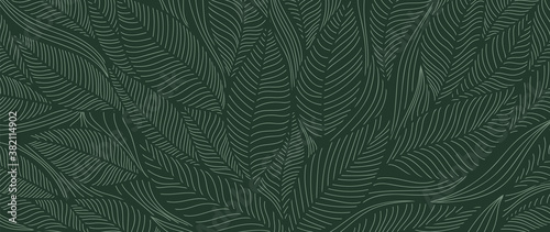 Tropical leaf Wallpaper, Luxury nature leaves pattern design, Golden banana leaf line arts, Hand drawn outline design for fabric , print, cover, banner and invitation, Vector illustration. - 382114902