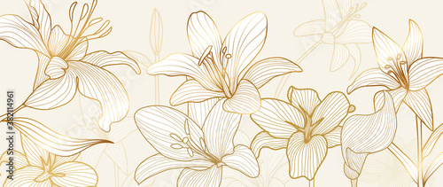 Obraz luxury vintage floral line arts golden wallpaper design. Exotic botanical wallpaper, vintage boho style for textiles, fabric, paper, banner website, cover design Vector illustration. - fototapety do salonu