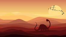 Landscape With Dinosaur Illust...