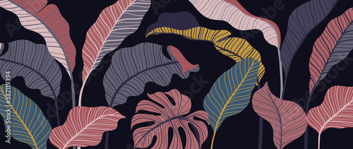 Tropical forest art deco wallpaper. Floral pattern with exotic flowers and leaves, split-leaf Philodendron plant ,monstera plant, Jungle plants line art on trendy background. Vector illustration..