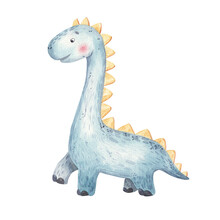 Blue Cute Cartoon Dinosaur With A Long Neck, Childrens Illustration In Watercolor, Print Design, Stickers