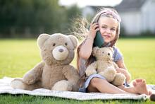 Pretty Child Girl Sitting In S...