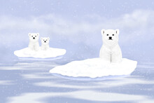 Three White Polar Bears On Sno...