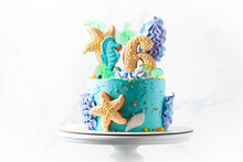 Blue And Turquoise Birthday Ca...