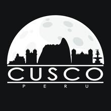 Cusco Peru Skyline City Flat Silhouette Design Background.