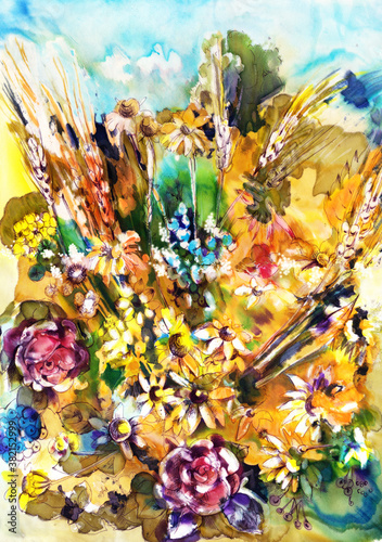 Okleiny na drzwi - Kolorowe - Wielobarwne  floral-composition-meadow-flowers-painting-in-watercolor-floral-composition-for-fabric-and
