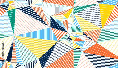 Photo Polygonal linear color seamless pattern, graphic colorful low poly striped endless wallpaper background