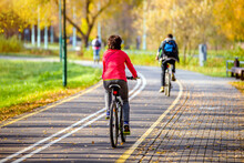 Cyclist Ride On The Bike Path ...