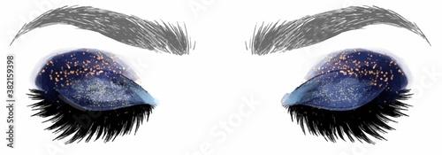 Tablou Canvas Hand drawn illustration vector closed eyes dark blue galaxy gold glitter eyeshad
