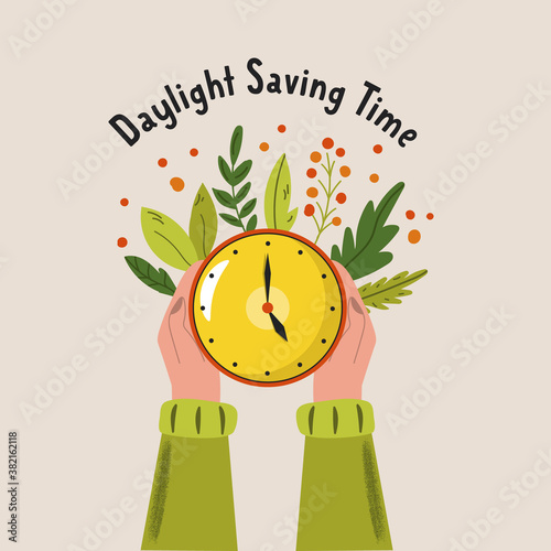 Fotomural Daylight Saving Time. Abstract design with hands holding clock