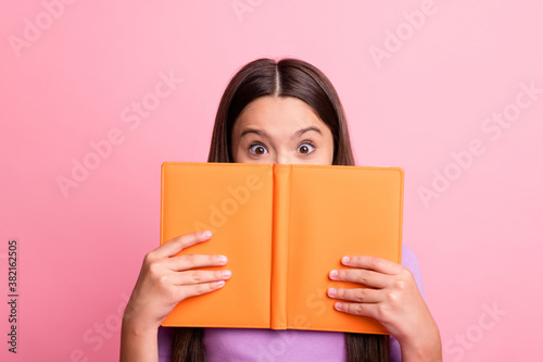 Photo of excited impressed kid girl hide her lips with book wear violet jumper isolated over pastel color background
