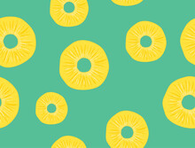 Vector Pineapple Seamless Pattern Slice Illustration. Fruit Pineapple Tropical Background