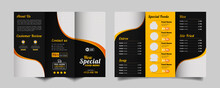 Food Trifold Brochure Menu Template. Fast Food Menu Brochure For Restaurant With Black And Yellow Color