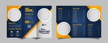 Food Trifold Brochure Menu Template. Fast Food Menu Brochure For Restaurant With Dark Blue Color