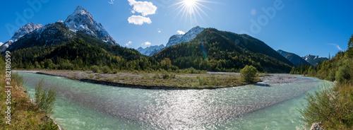 Ahornboden Panorama mit ersten Schnee im Karwendelgebirge in Tirol Österreich Wallpaper Mural