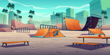 Skate Park With Ramps In Tropical City. Vector Cartoon Cityscape With Track For Skateboard, Picnic Table, Wooden Bench And Palm Trees. Playground For Extreme Sport Activity