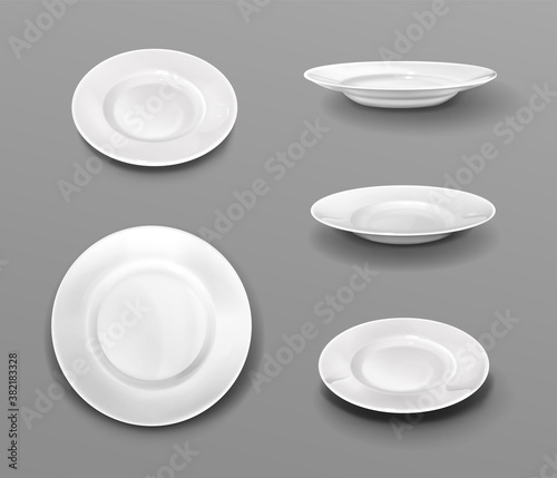 Fotomural White plates, realistic 3d ceramic dishes top and side view collection
