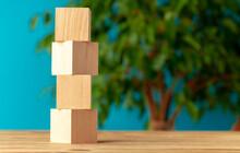 Wooden Blocks On Desk Against ...