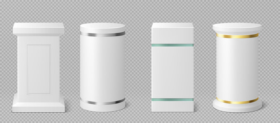 White pedestals or podiums with gold, glass and silver decor. Abstract empty museum stages, exhibit displays. Gallery platform, round and square blank product stands or pillars Realistic 3d vector set
