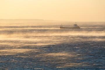 Cargo ship in Libyan sea near Goudouras village in eastern Crete.