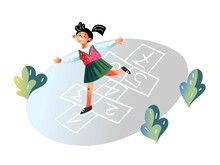 Kid Playing Hopscotch Game Outside. Happy Girl Hopping At Playground. Fun Active Outdoor Activity Vector Illustration. Numbers In Chalk On Pavement