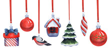 Watercolor Set Of Ornaments For Christmas Tree Hanging On Red Ribbons. Thematic Glass Toys On White Backdrop: Balls, Christmas Tree, Gift, Spiral, Bullfinch. Hand Drawn Atmospheric Winter Collection