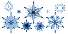 Watercolor Collection Of Nine Ornate Beautiful Snowflakes Isolated On White Background. Transparent Ice Patterns With Unique Peculiarities. Hand Drawn Illustration Of Ice Elegance