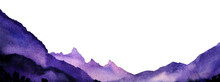 Abstract Watercolor Background. Violet Paint Waves On White Backdrop. Gradient Layers Of Purple Color From Dark On Front View To Light Lilac On Backwards. Blurred Silhouettes Of Mountains