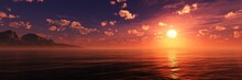 Panorama Of Sea Sunset, Sea And Sky With Clouds And Sun, 3d Rendering