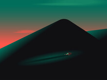 Illustration Of Car Driving On Road Against Mount Fuji During Sunset