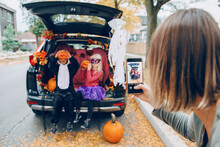 Trick Or Trunk. Children Boy A...