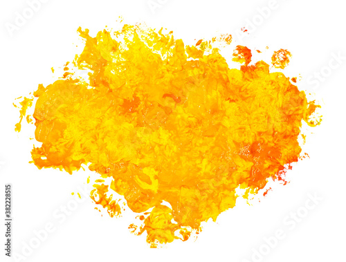 Fotografija Bright colorful vibrant hand painted isolated gouache spot splash isolated on white background in orange and yellow colors
