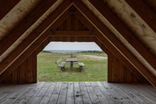 View Out Of A  Wooden Shelter ...