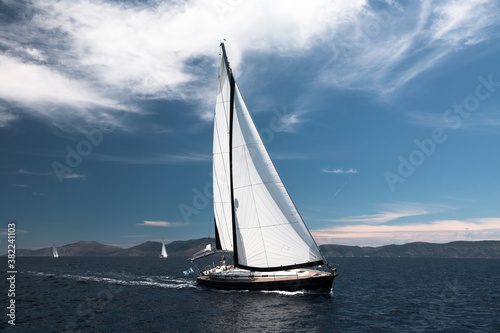 Luxury sailing. Sailboat in the regatta in the Aegean Sea. Fototapeta