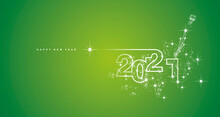 New Year 2021 Line Design Firework Champagne Shining White Green Vector