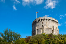 The Round Norman Keep (Round Tower) In Windsor Castle With The Queen's Flag (Royal Standard) Flying, Windsor, Berkshire, England, United Kingdom